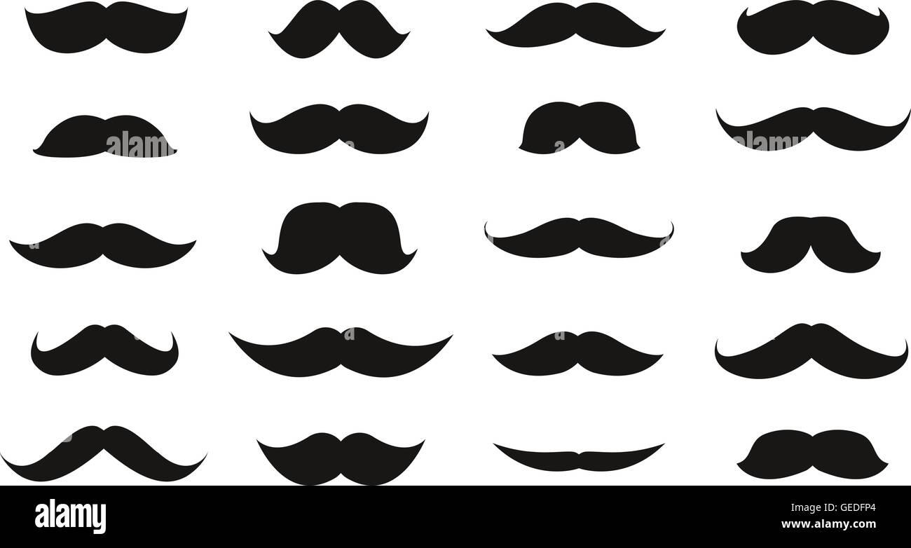 Moustache isolated on white background. Vector illustration - Stock Image