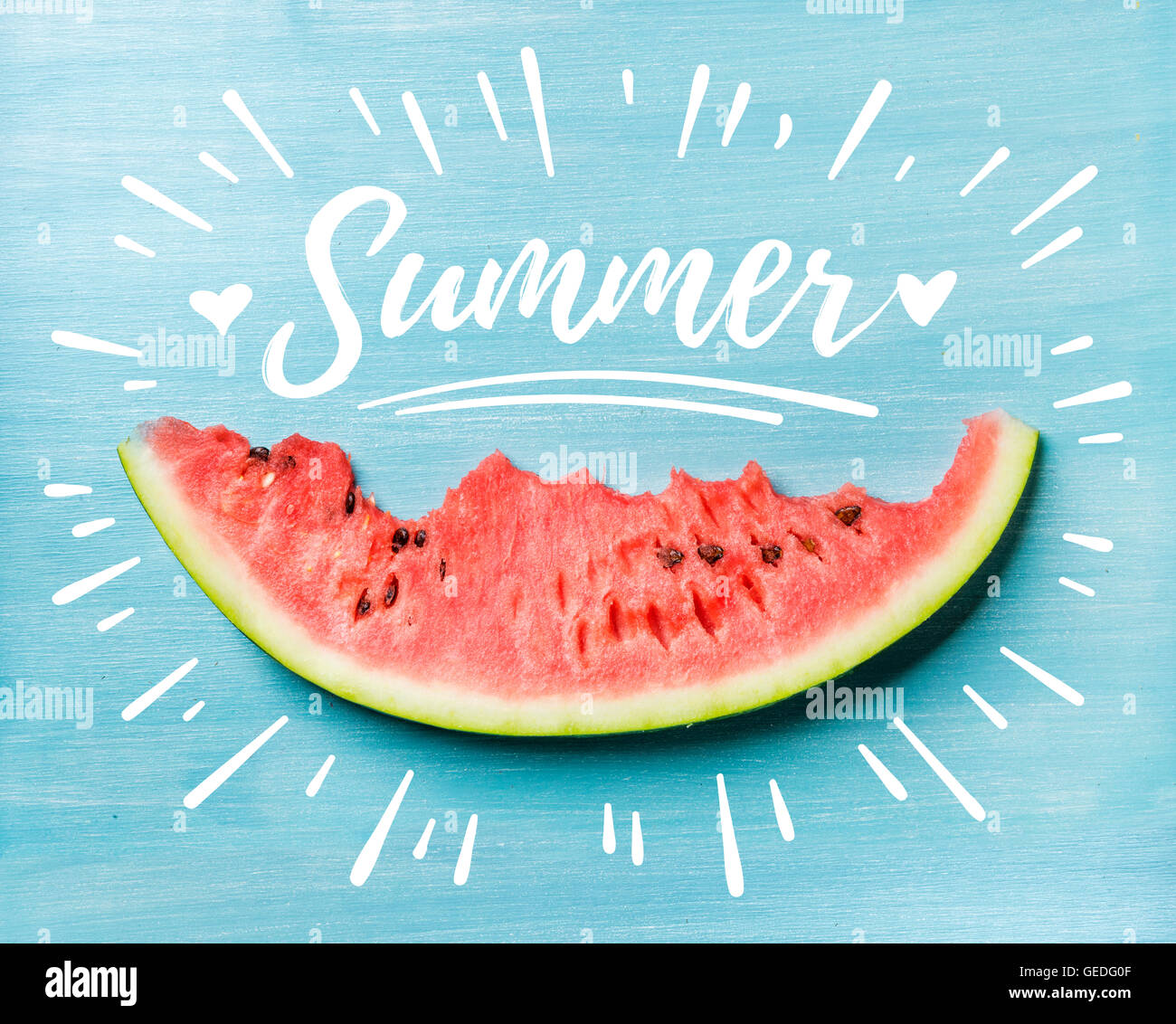 Summer concept illustration. Slice of watermelon on turquoise blue background, top view. - Stock Image