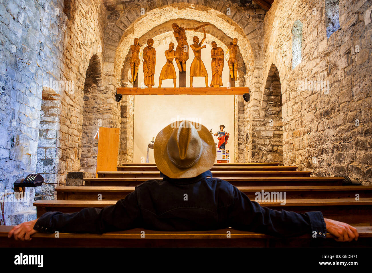 Sculptoric group (s. XII).Santa Eulàlia Church.Romanesque church. Erill la Vall. Boí valley. Catalonia. - Stock Image