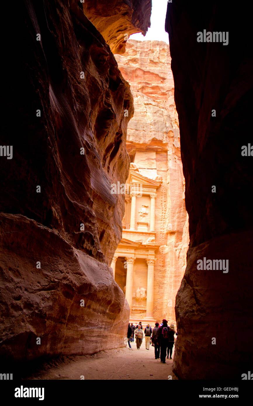 Siq in Petra Jordan - Stock Image
