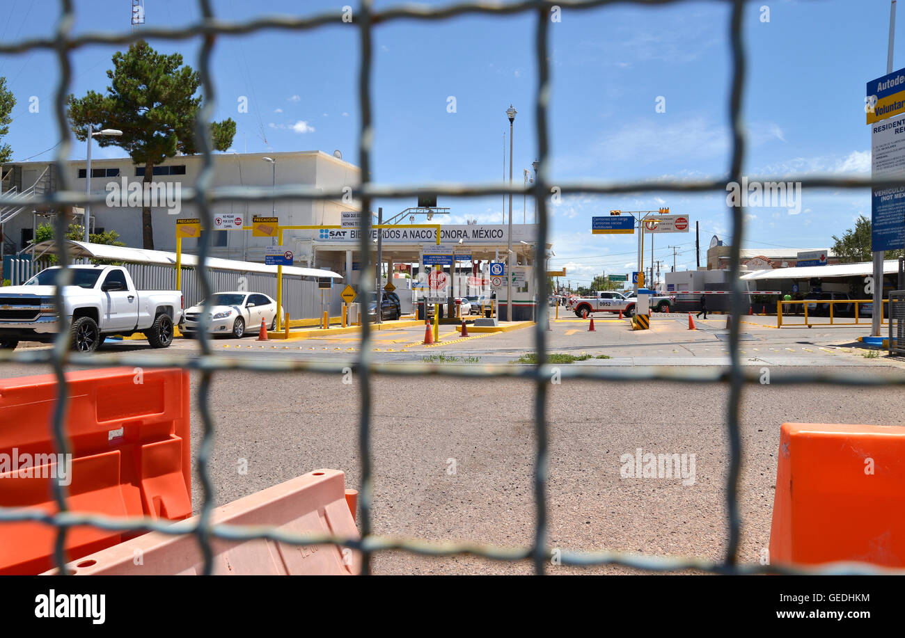 Vehicles exit the inspection station in Naco, Sonora, Mexico