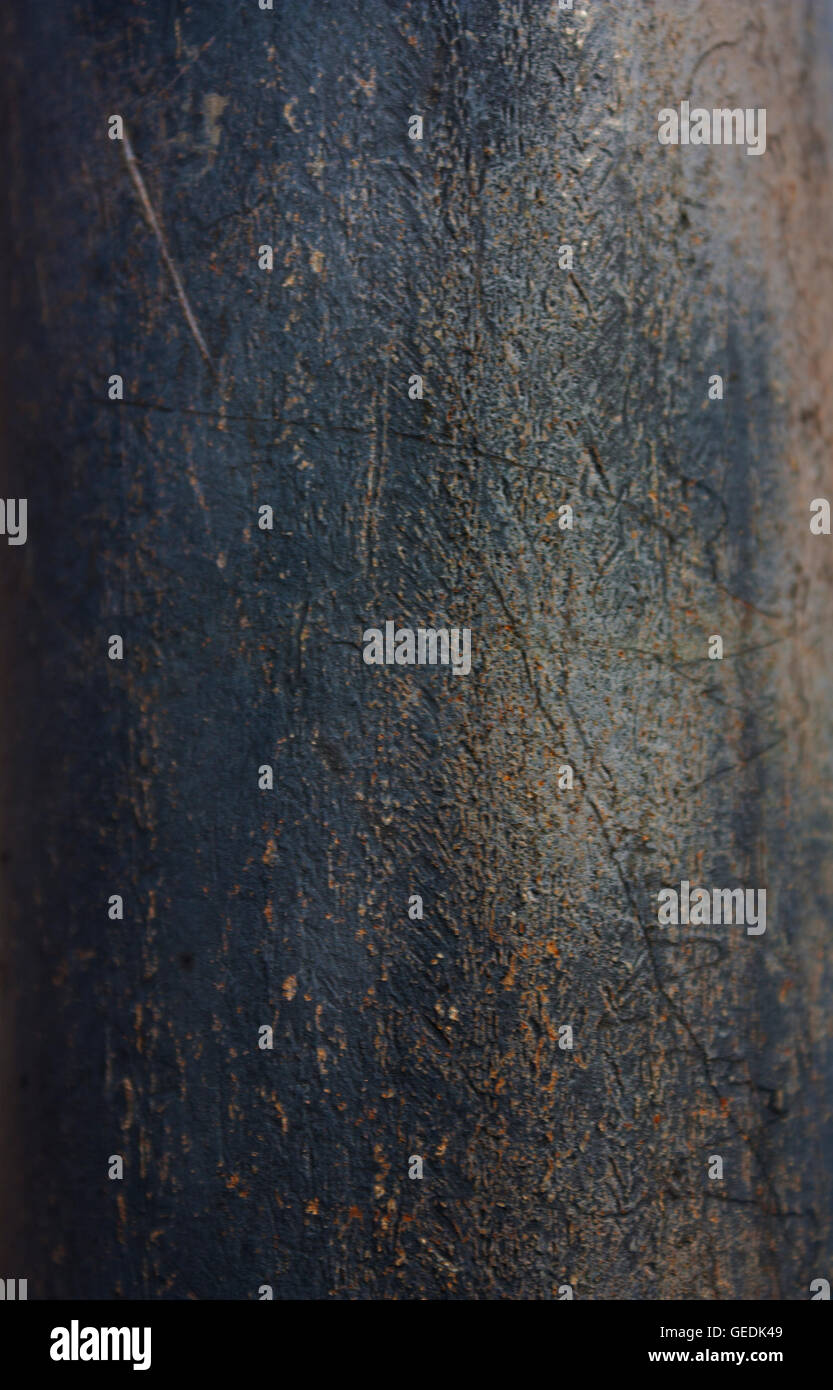 Rough scratched blue, gray metal textured background - Stock Image