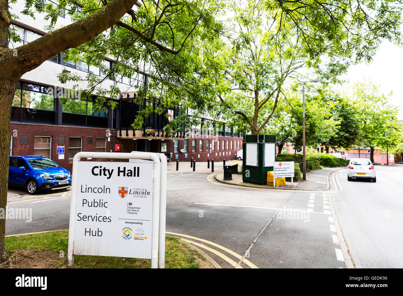 Lincoln City Hall Lincoln city Lincolnshire council offices UK Building sign exterior England GB - Stock Image