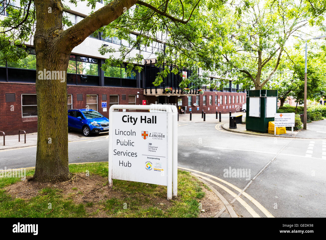 Lincoln City Hall Lincolnshire council offices UK Building sign exterior England GB - Stock Image