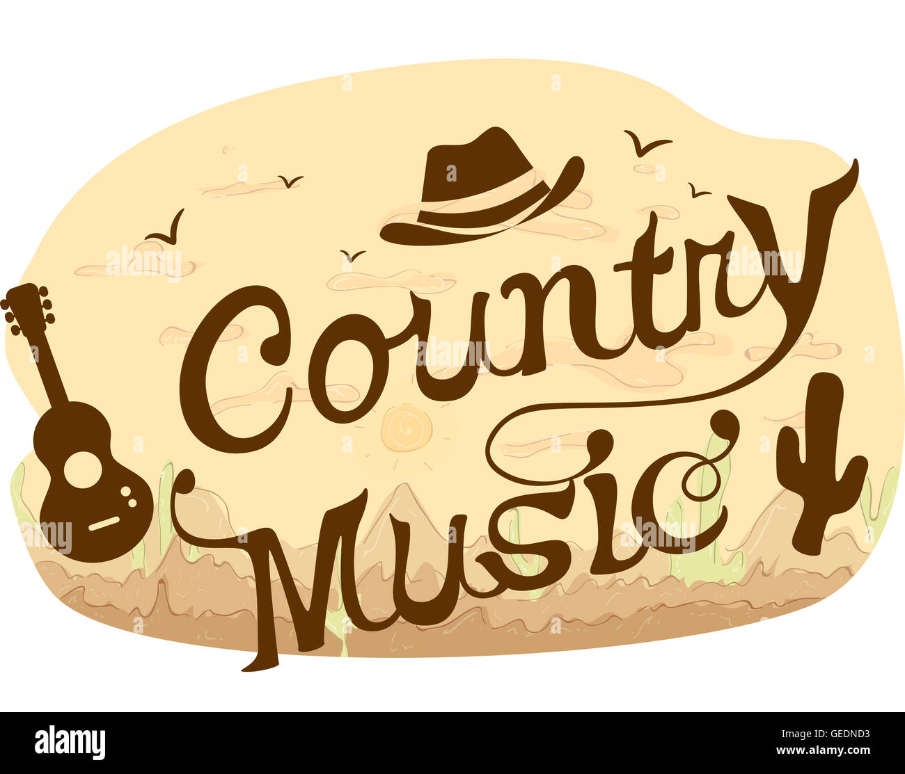 Typography Illustration Featuring Words Country Music Buy Folk Art