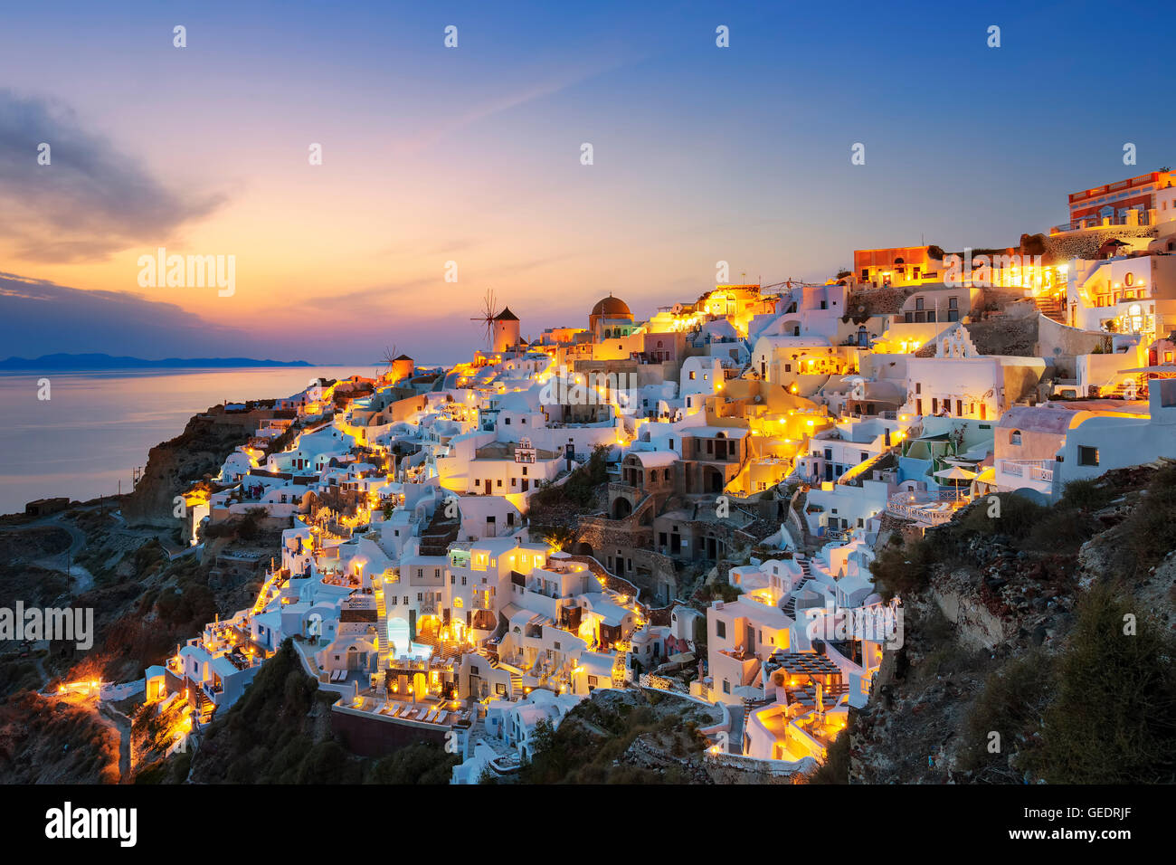 View of Oia at sunset, Santorini - Stock Image
