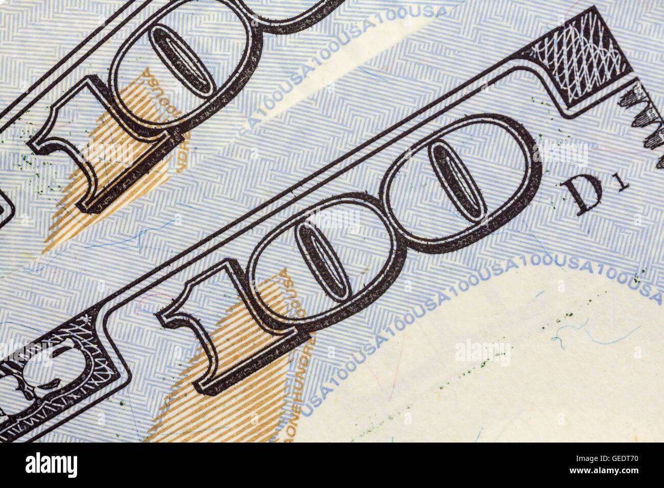 US One Hundred dollar bill macro detail close up. - Stock Image