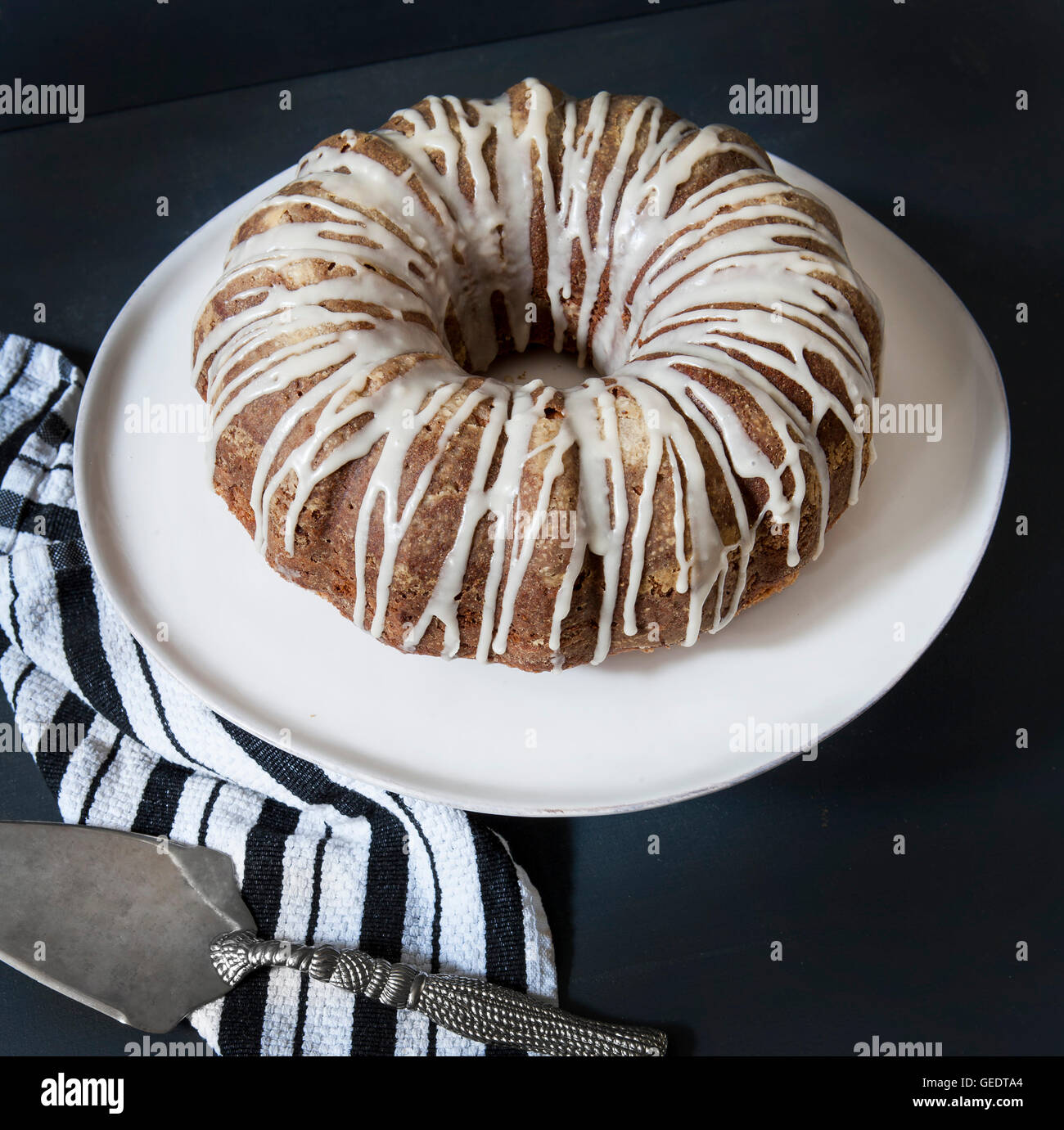 Sour Cream Coffee Cake with Maple Syrup Glaze, High Angle View - Stock Image