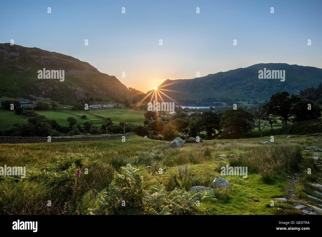 Rising Sun over Glenridding - Stock Image