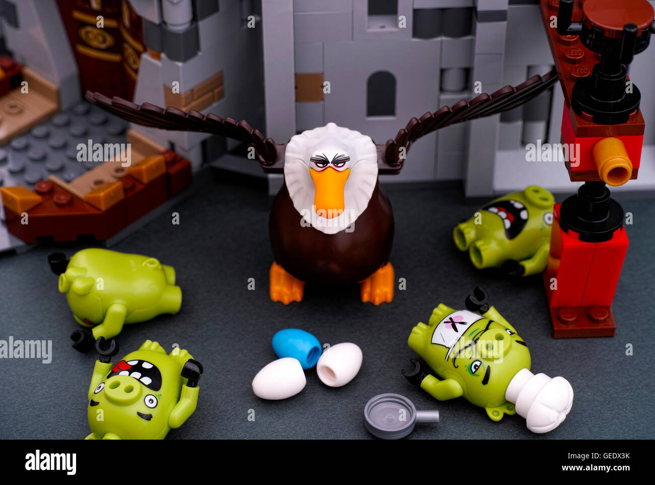 Tambov, Russian Federation - July 20, 2016 Lego Angry Birds. Four Bad Piggies defeated by Mighty Eagle near King - Stock Image