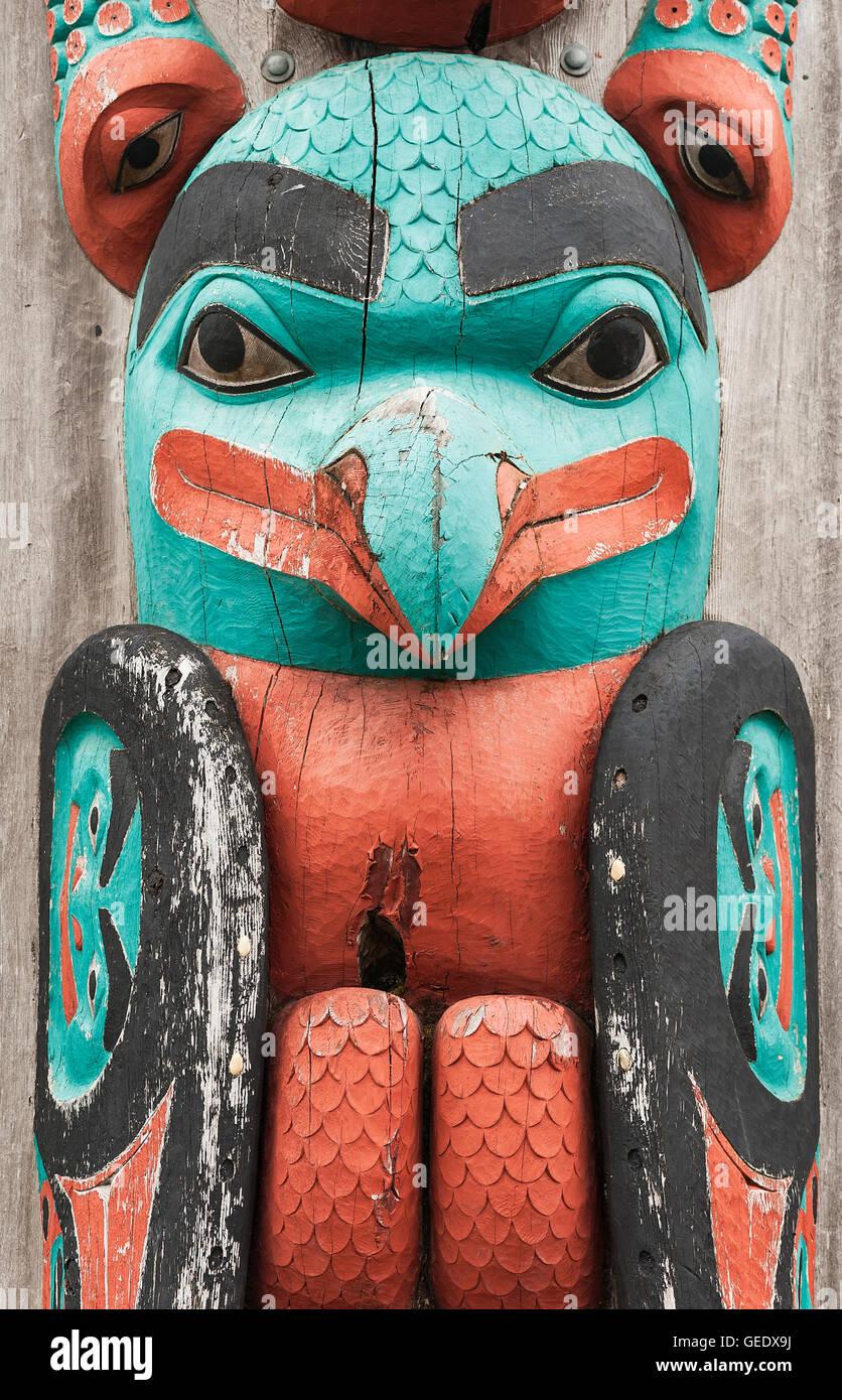 Totem pole detail, Hoonah, Alaska, USA. - Stock Image