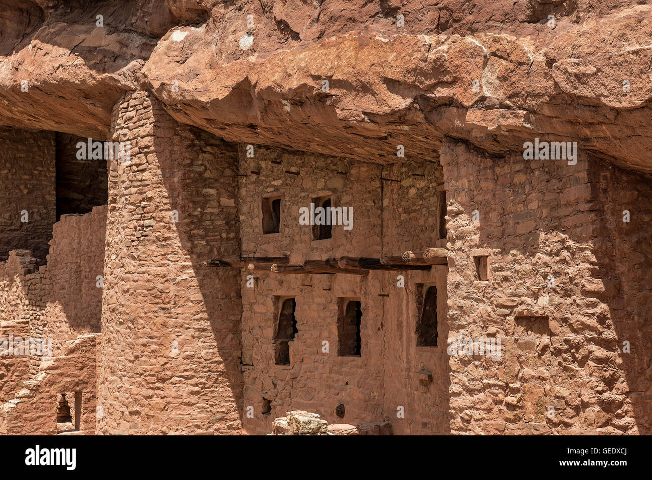 Manitou Cliff Dwellings of the Anasazi, native American Indian tribe. These dwellings were carved out of the soft - Stock Image