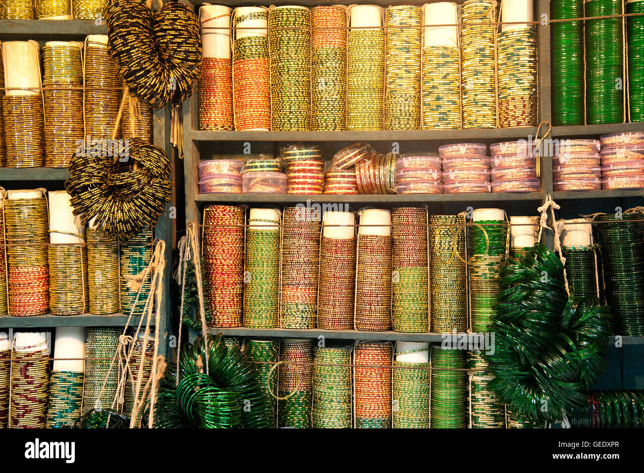 The image of Bangles shop at streets of Mumbai, India - Stock Image