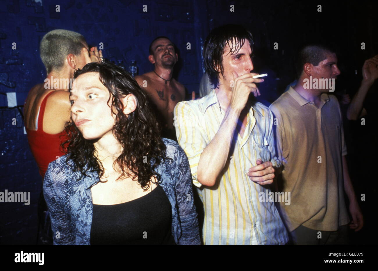 Sweaty people on drugs at a club rave herne hill UK 1990's - Stock Image