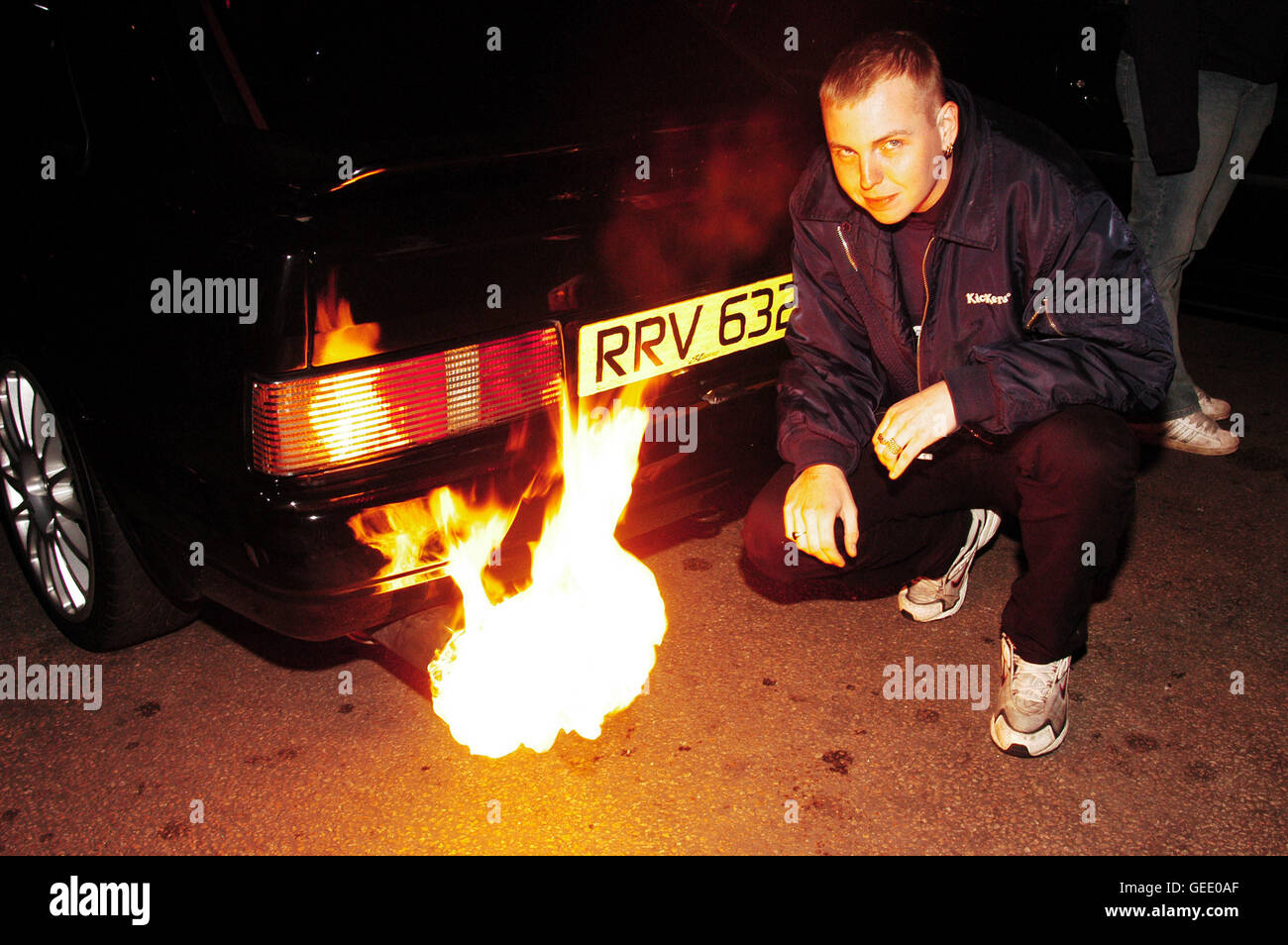 A Boy Racers Escort Flames From The Exhaust Caused By A Spark Plug Stock Photo Alamy