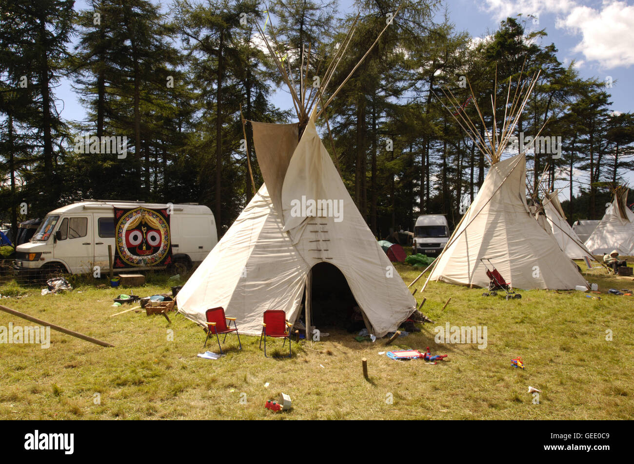 Environmentally conscious camper's Teepees at the Big Green Gathering, - Stock Image