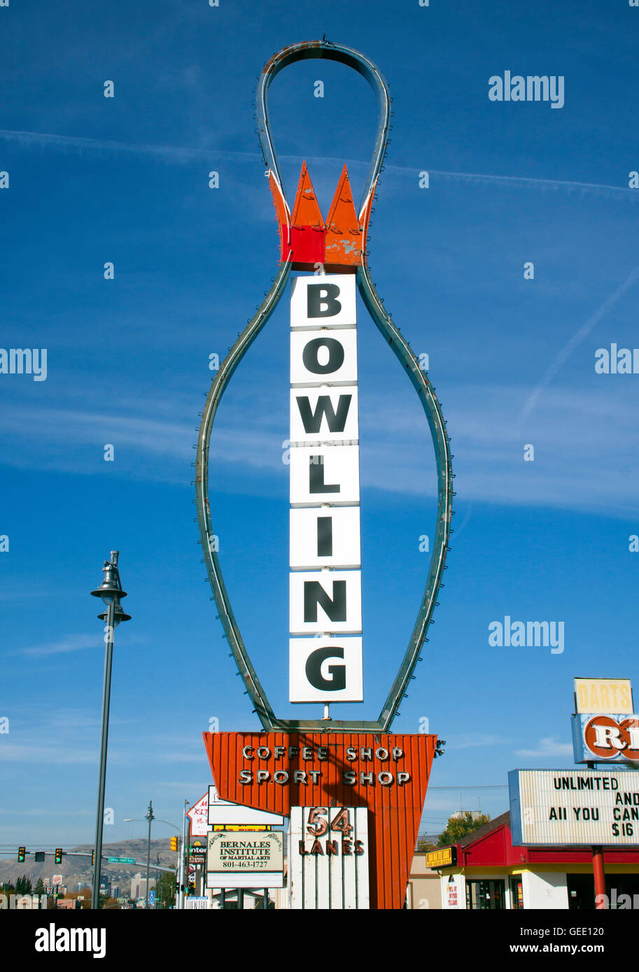 Bowling Pin Sign at an an alley in Salt Lake City Utah - Stock Image