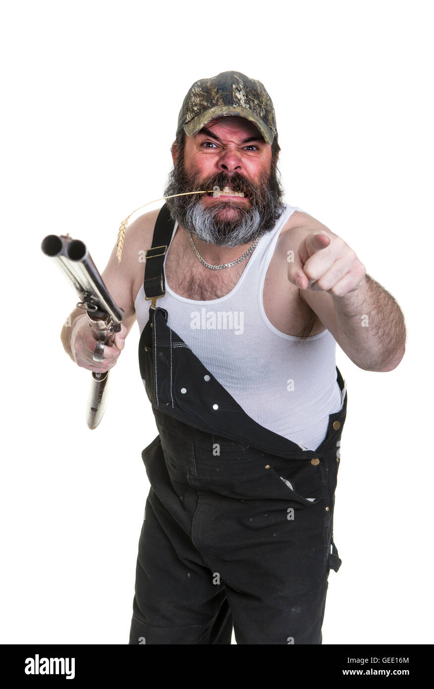 angry-hillbilly-with-shotgun-on-a-white-background-GEE16M.jpg