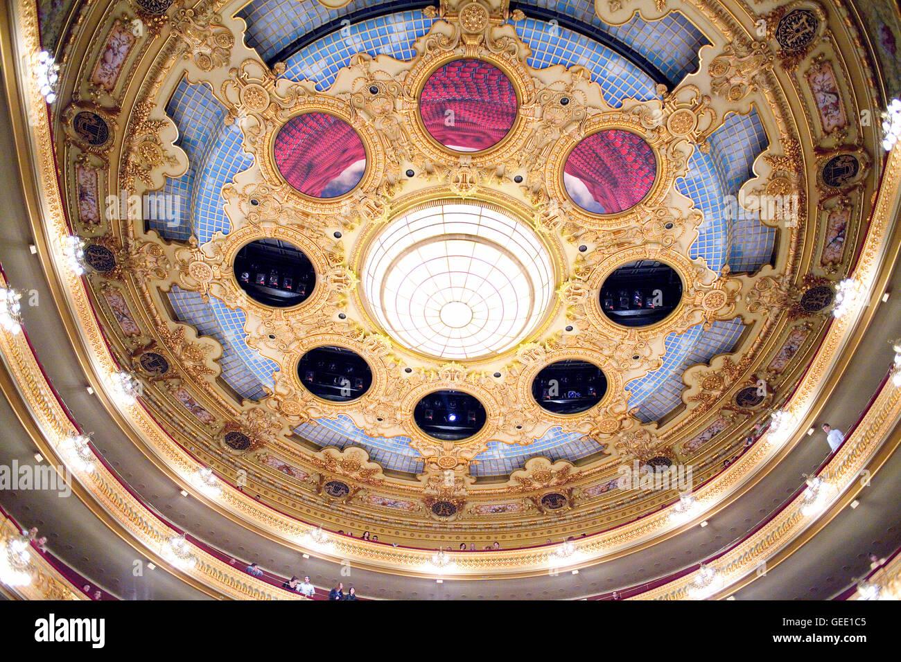 Ceiling of Gran Teatre del Liceu, opera house, La Rambla, Ciutat Vella, Barcelona, Spain - Stock Image