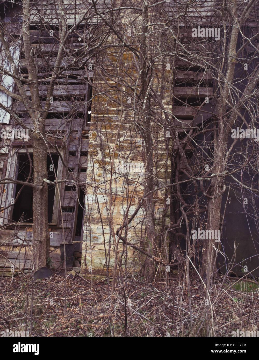 Chimney of abandoned house - Stock Image
