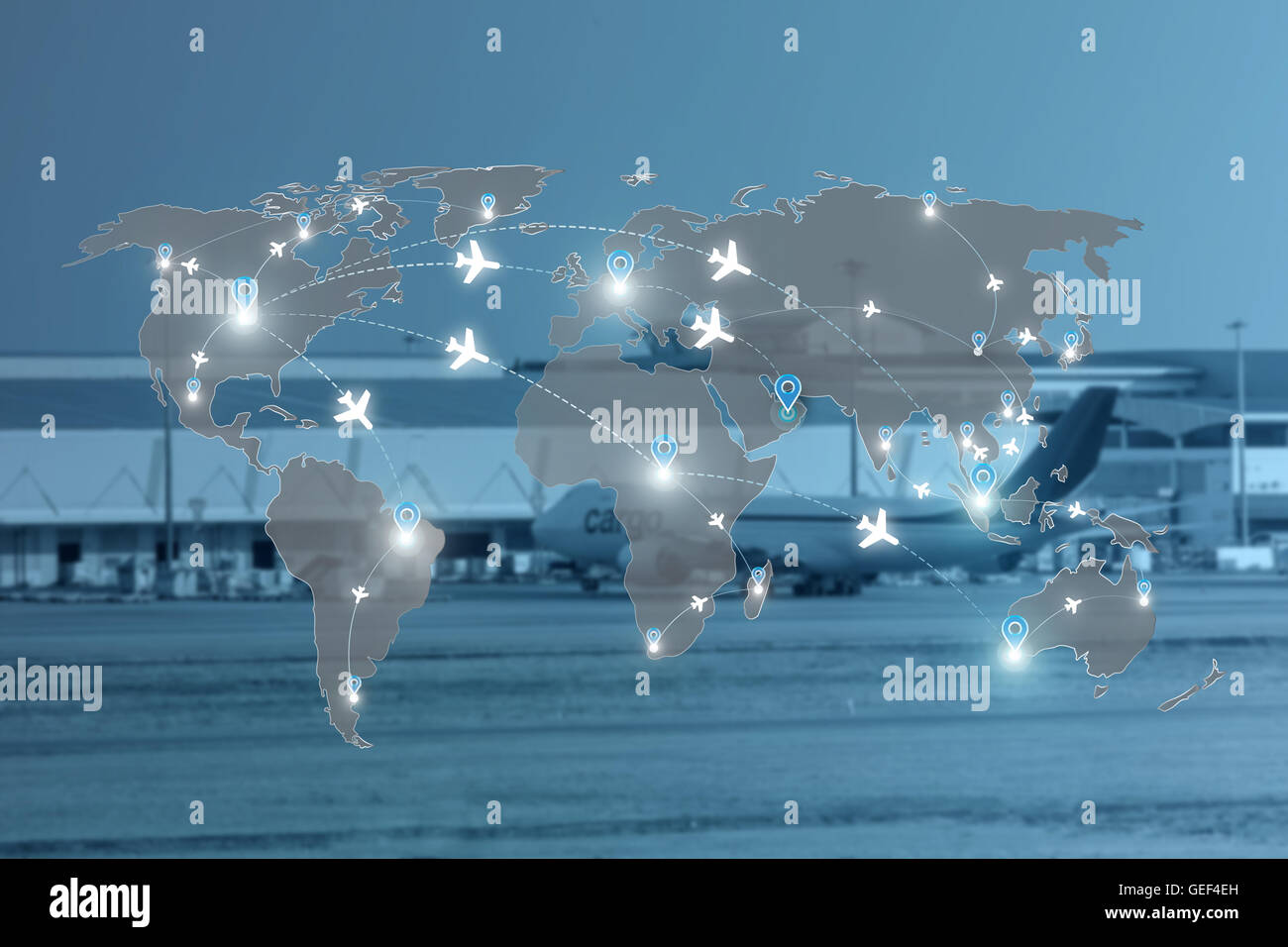 Map of flight routes airplanes network use for global travel, import,export,logistics network concept. - Stock Image