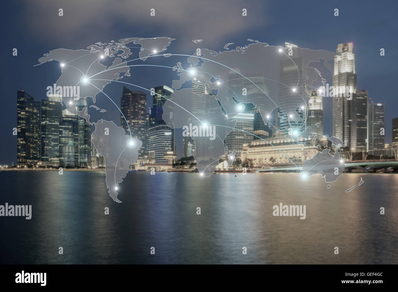 Network and world map on blur city use for global network partners background.(Elements of this image furnished Stock Photo