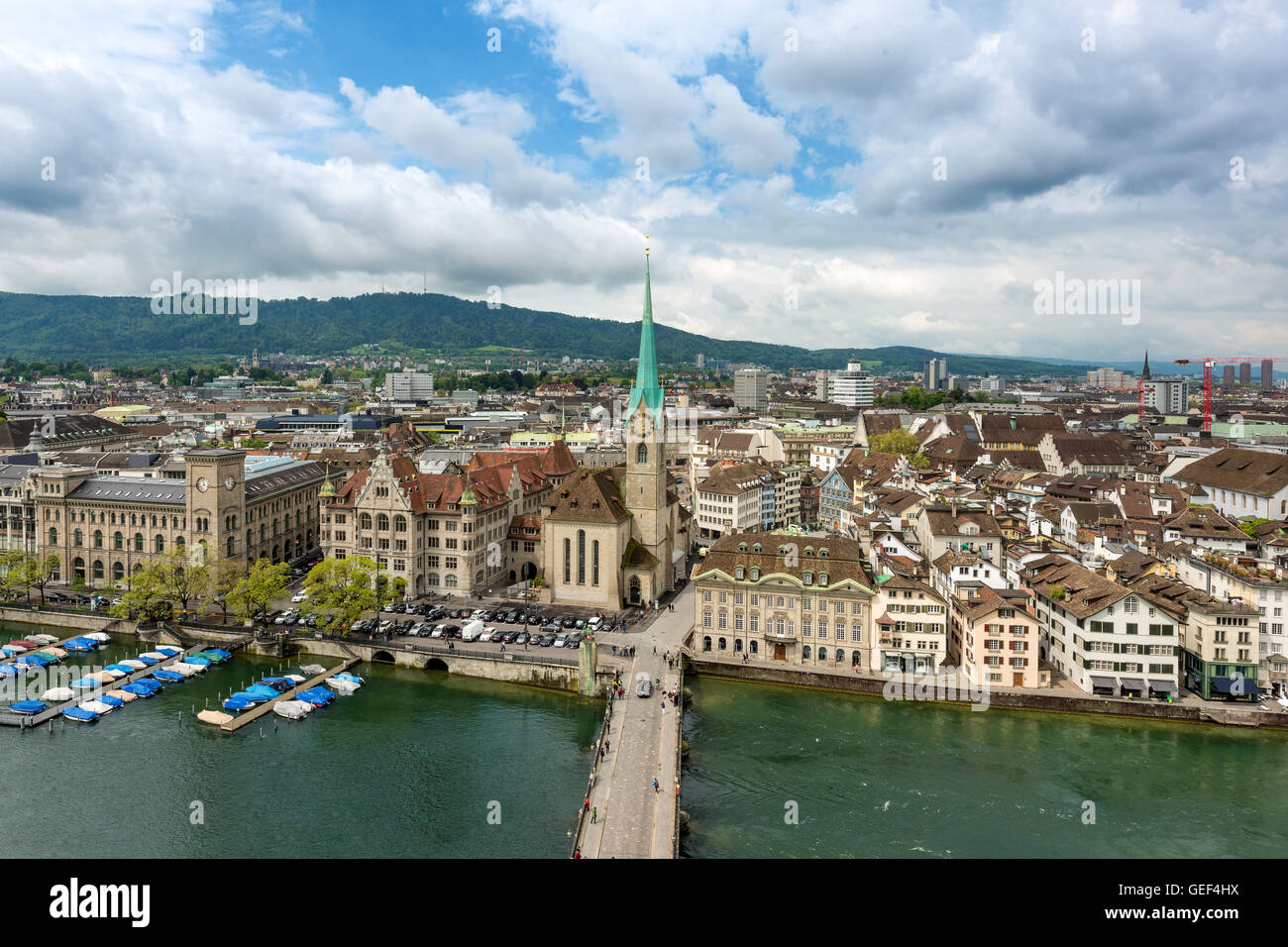 Aerial view of Zurich old town along Limmat river, Zurich, Switzerland. - Stock Image