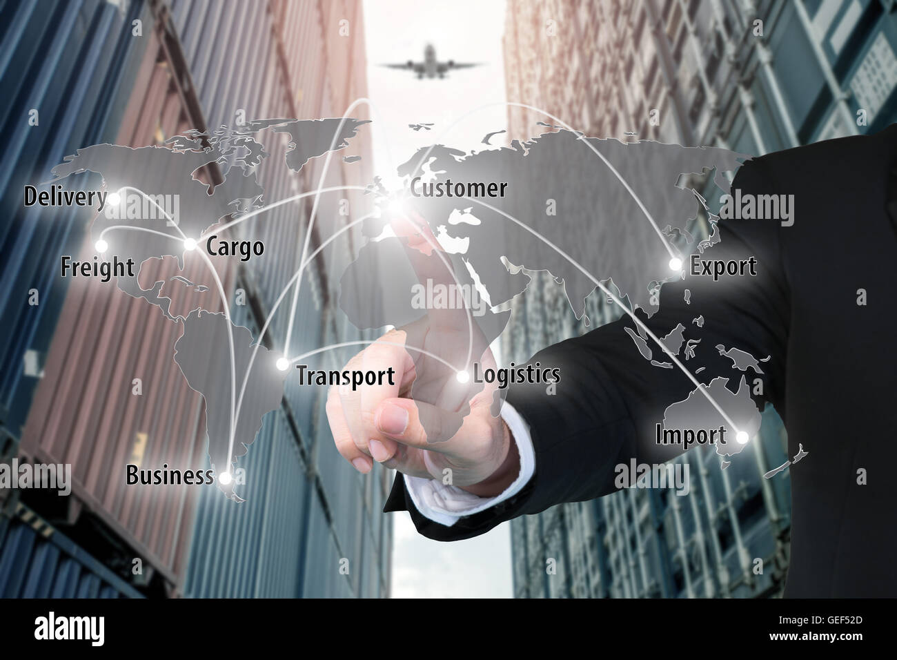 Businessman working with virtual interface connection map of global network partner connection - Stock Image