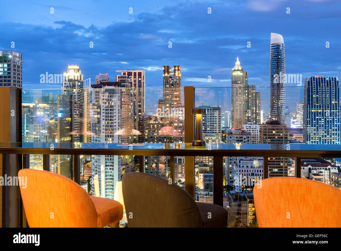 Bangkok skyline view point from rooftop bar in Bangkok, Thailand. Beautiful rooftop bar in Bangkok. - Stock Image