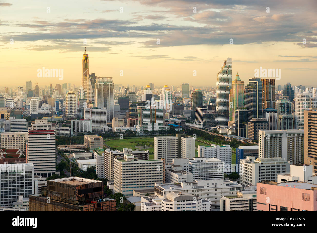 Bangkok view in business district with skyscraper in Bangkok, Thailand. - Stock Image