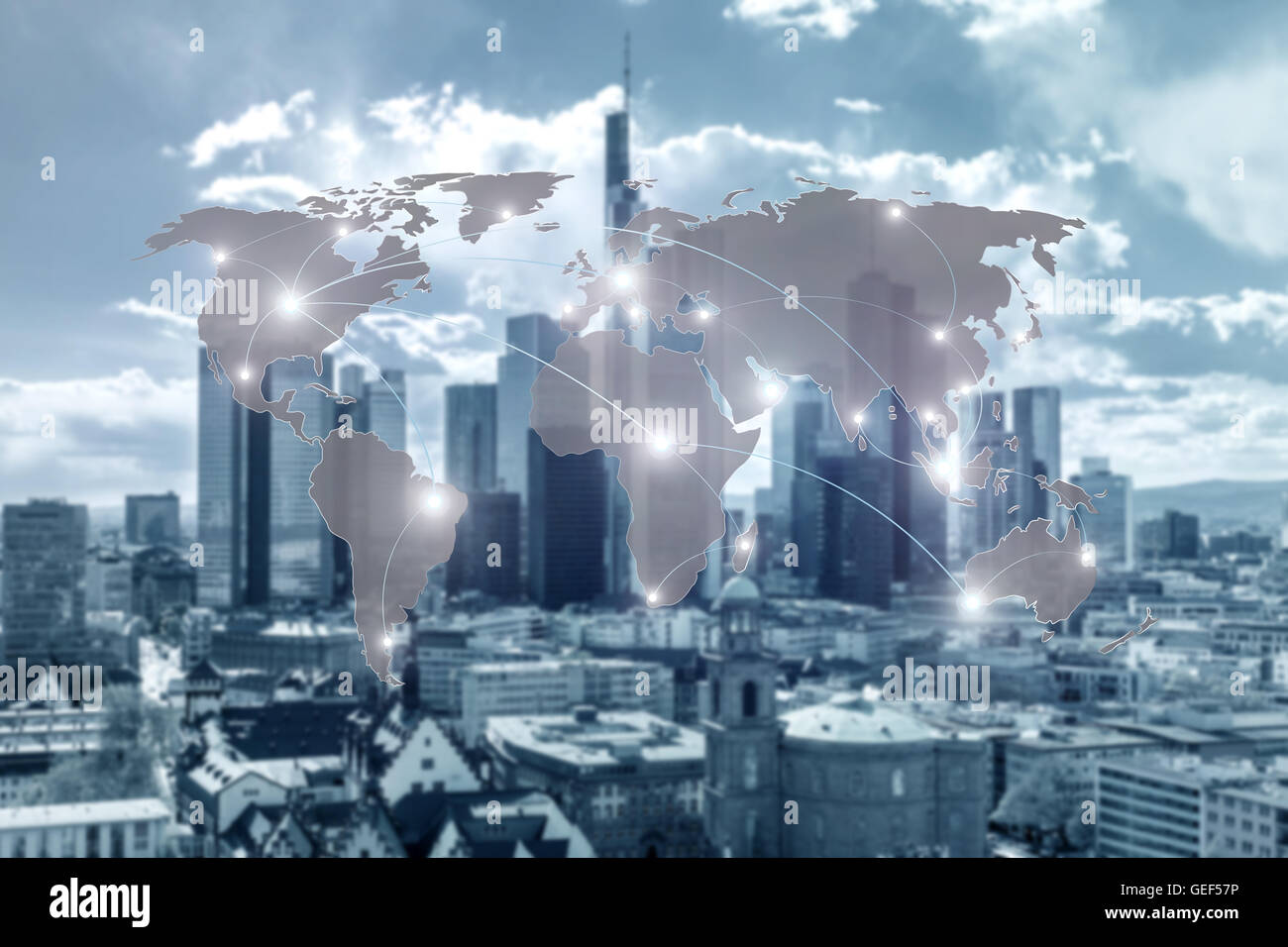 Networking concept - Network and world map on blur city use for global network partners background. Stock Photo