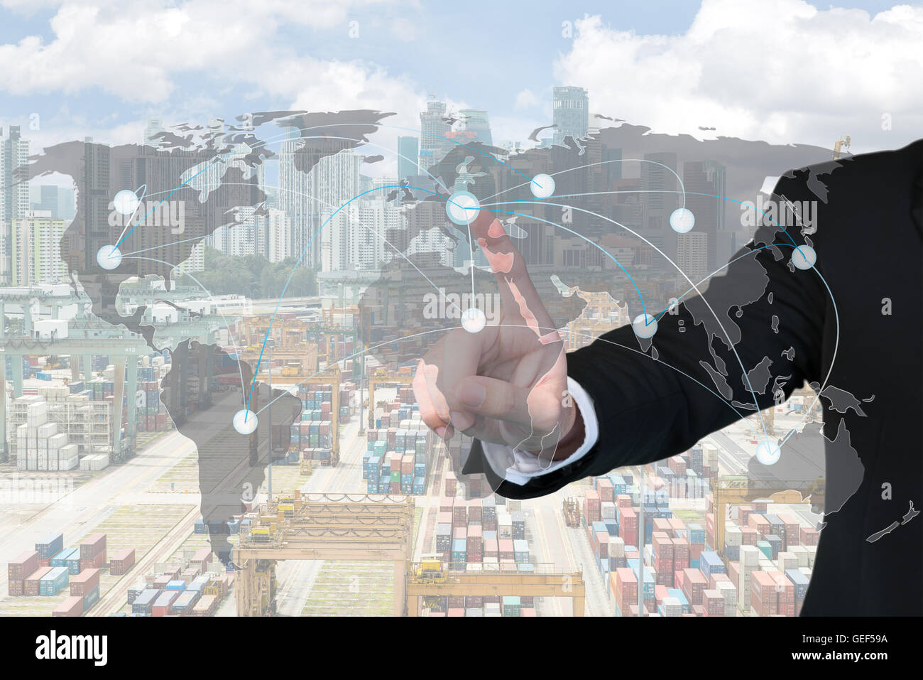 Businessman working with virtual interface map global partner connection of export logistics with Singapore harbor - Stock Image
