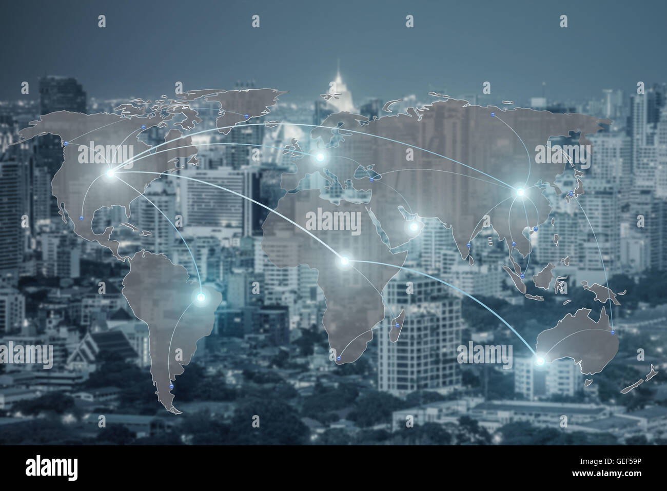 Networking concept - Network and world map on blur city use for global network partners background.(Elements of - Stock Image
