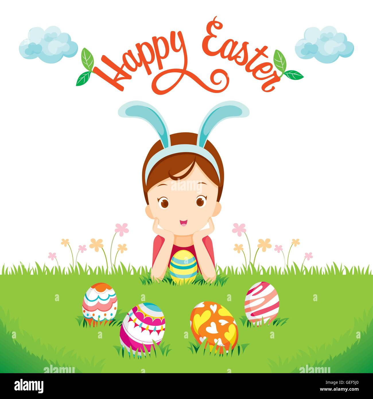 Girl And Easter Eggs On Lawn, Spring Season, Animal, Nature, Decorating, Festive, Celebrations - Stock Vector