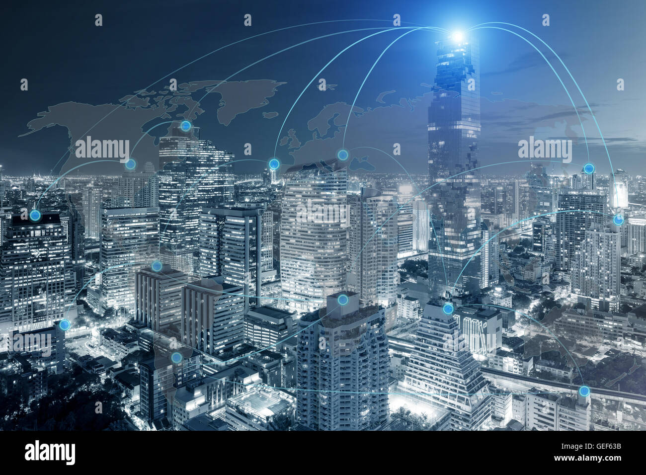 Cityscape and network connection with world map use for global network connection partnership concept.(Elements Stock Photo
