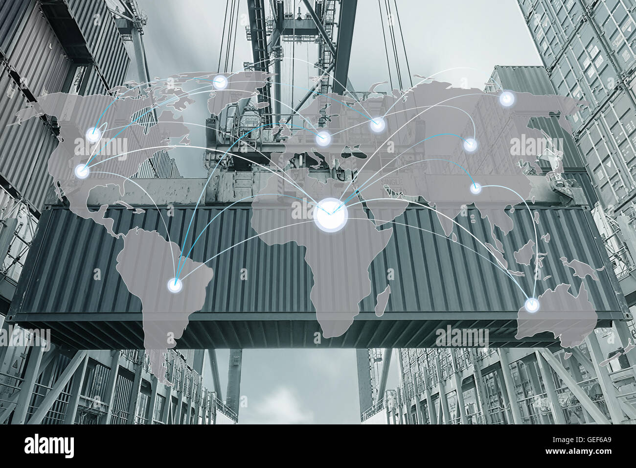 Import, Export, Logistics concept - Map global partner connection of Container Cargo freight ship - Stock Image