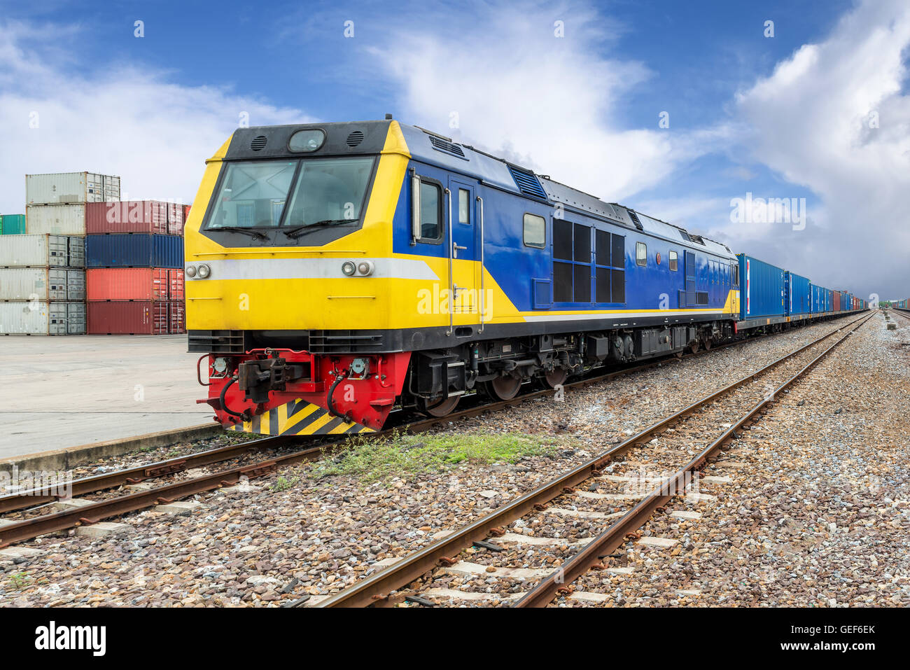 Import, Export, Logistics concept - Cargo train platform with freight train container at depot use for Import, Export, - Stock Image
