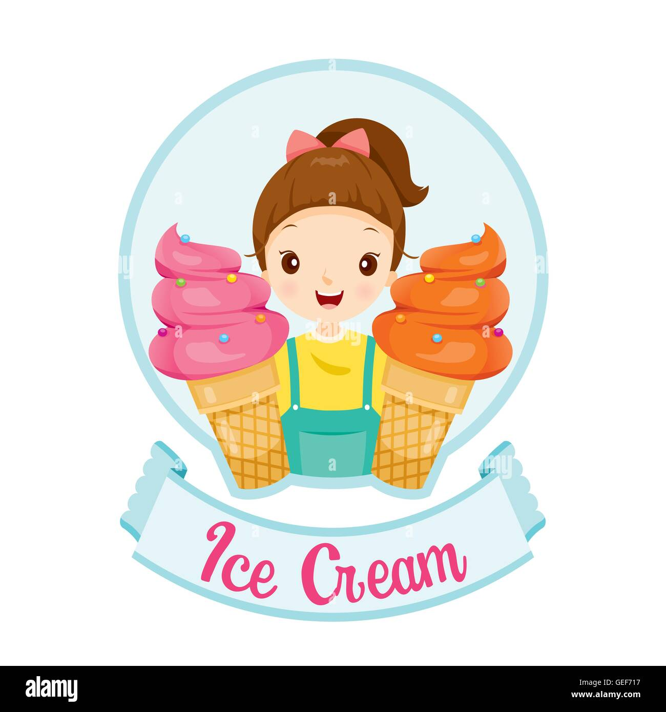 Girl With Ice Cream Logo And Label, Summer, Frozen Food, Eating, Icy Stock Vector