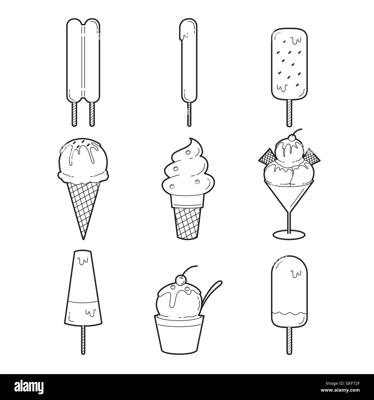 Ice Cream Outline Objects Icons Set, Summer, Frozen Food, Eating, Icy Stock Vector