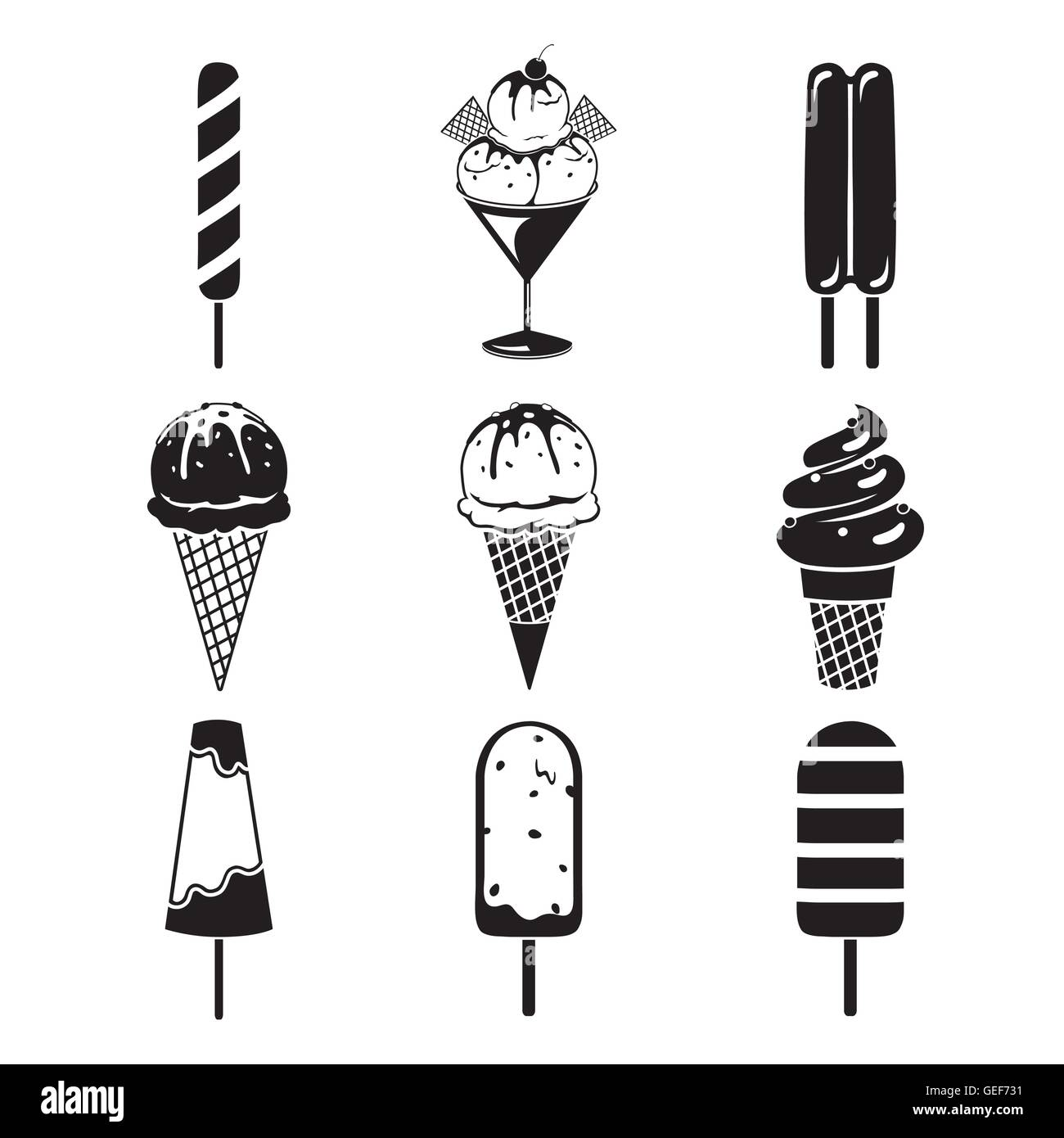 Ice Cream Objects Icons Set, Monochrome, Summer, Frozen Food, Eating, Icy Stock Vector