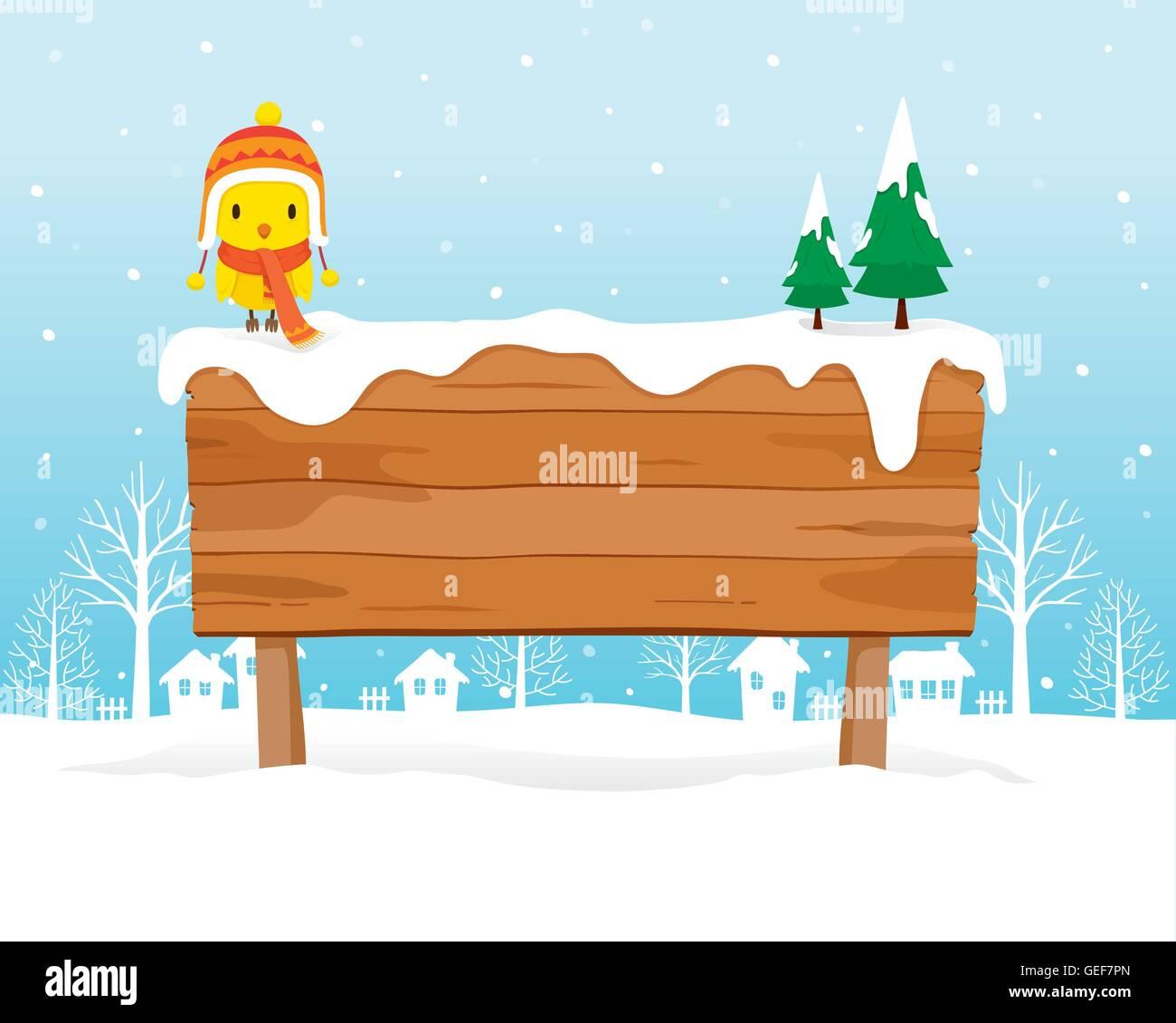 Wooden Signboard On Snowdrift, Landscape, Winter, Season, Building, Outdoor - Stock Vector