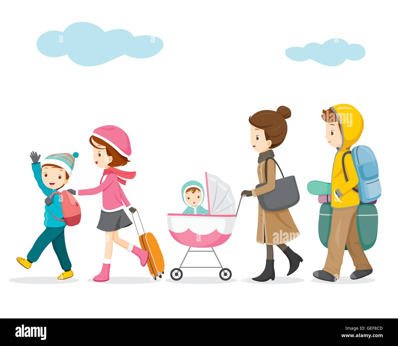 Family Walking To Travel Activity Winter Season Vacation