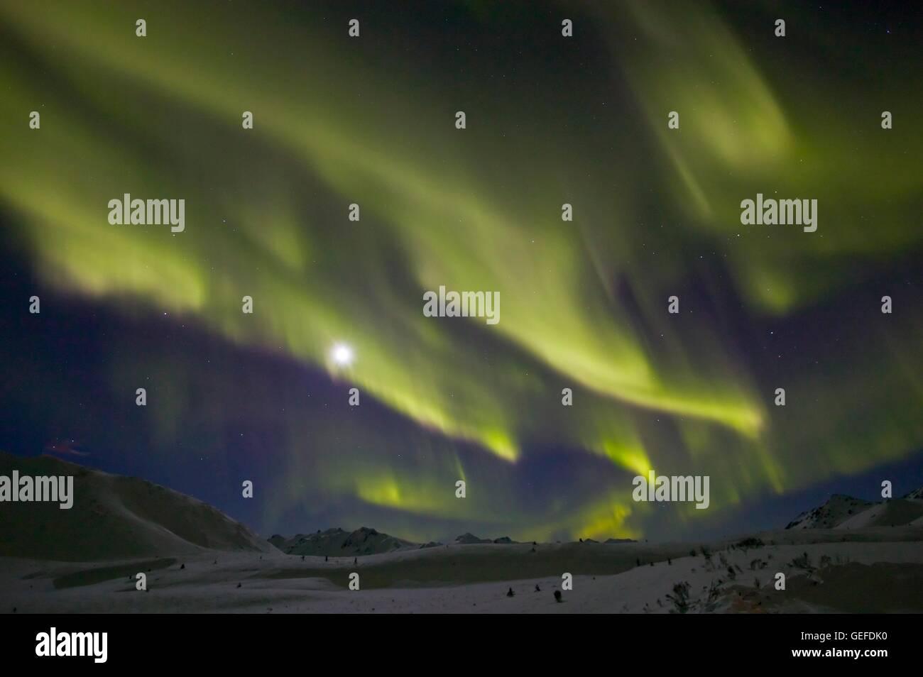 geography / travel, astronomy, geophysics, Aurora Borealis, near Tombstone Mountain, Dempster Highway, Yukon, winter, - Stock Image