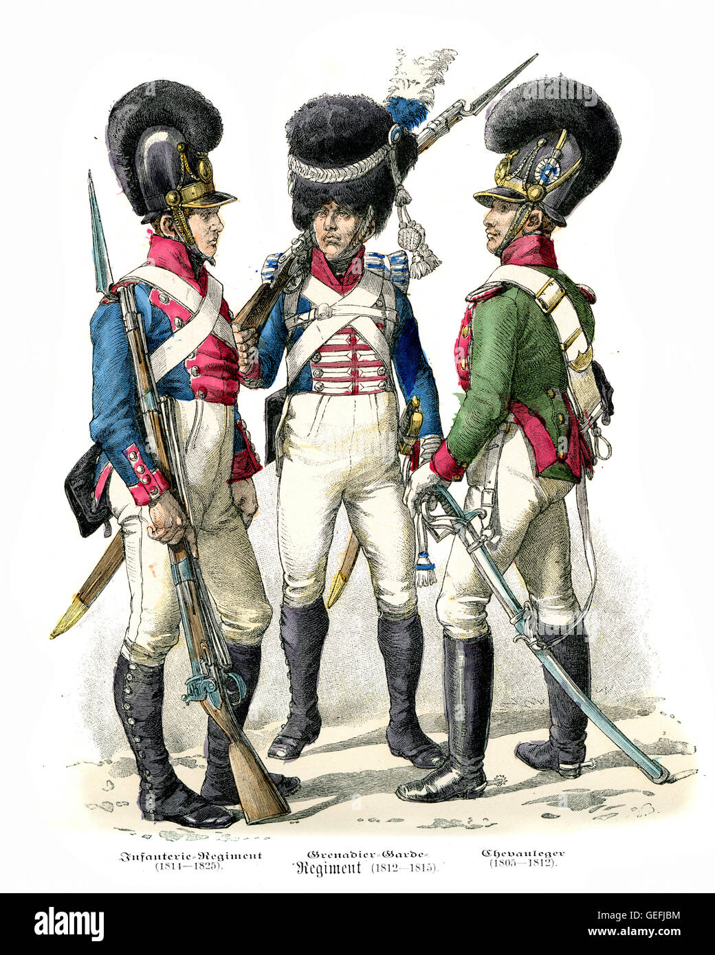 Military uniforms of Bavarian Soldiers early 19th Century. Infantry, Grenadier Guard, Chevau-leger - Stock Image