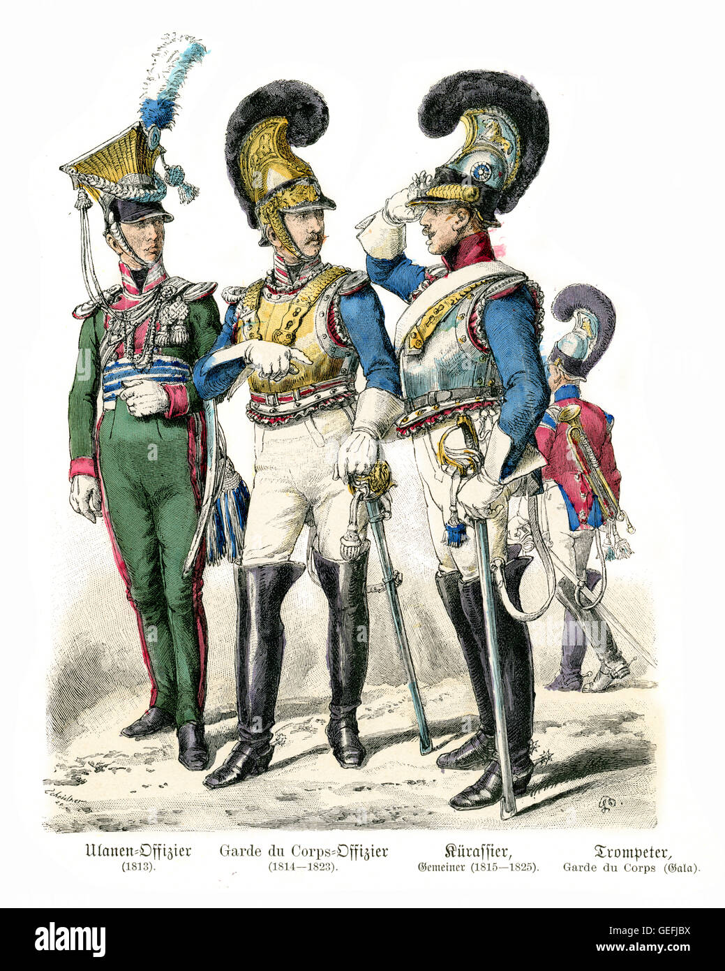Military uniforms of Bavarian Soldiers early 19th Century. Cavalry Ulan Officer, Garde du Corps officer, Cuirassier - Stock Image