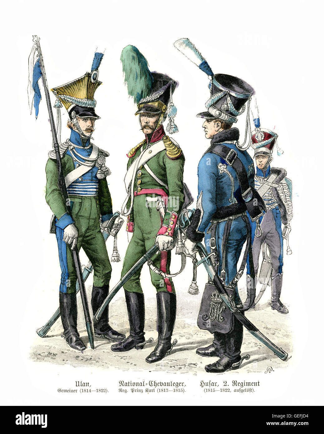 Military uniforms of Bavarian Soldiers early 19th Century. Cavalry,  Ulan, Chevau-leger, Hussar - Stock Image