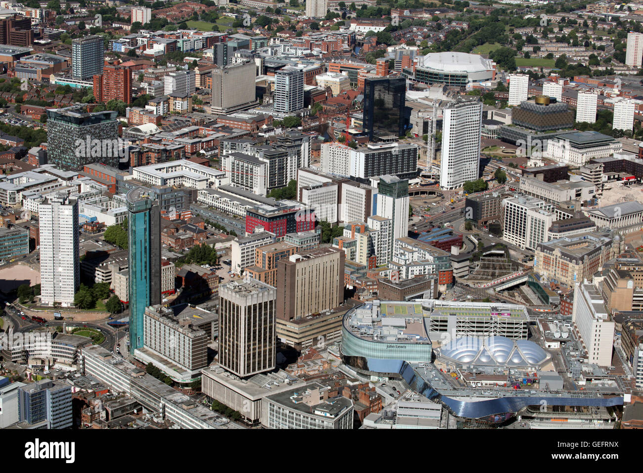 aerial view of Birmingham city centre, UK - Stock Image