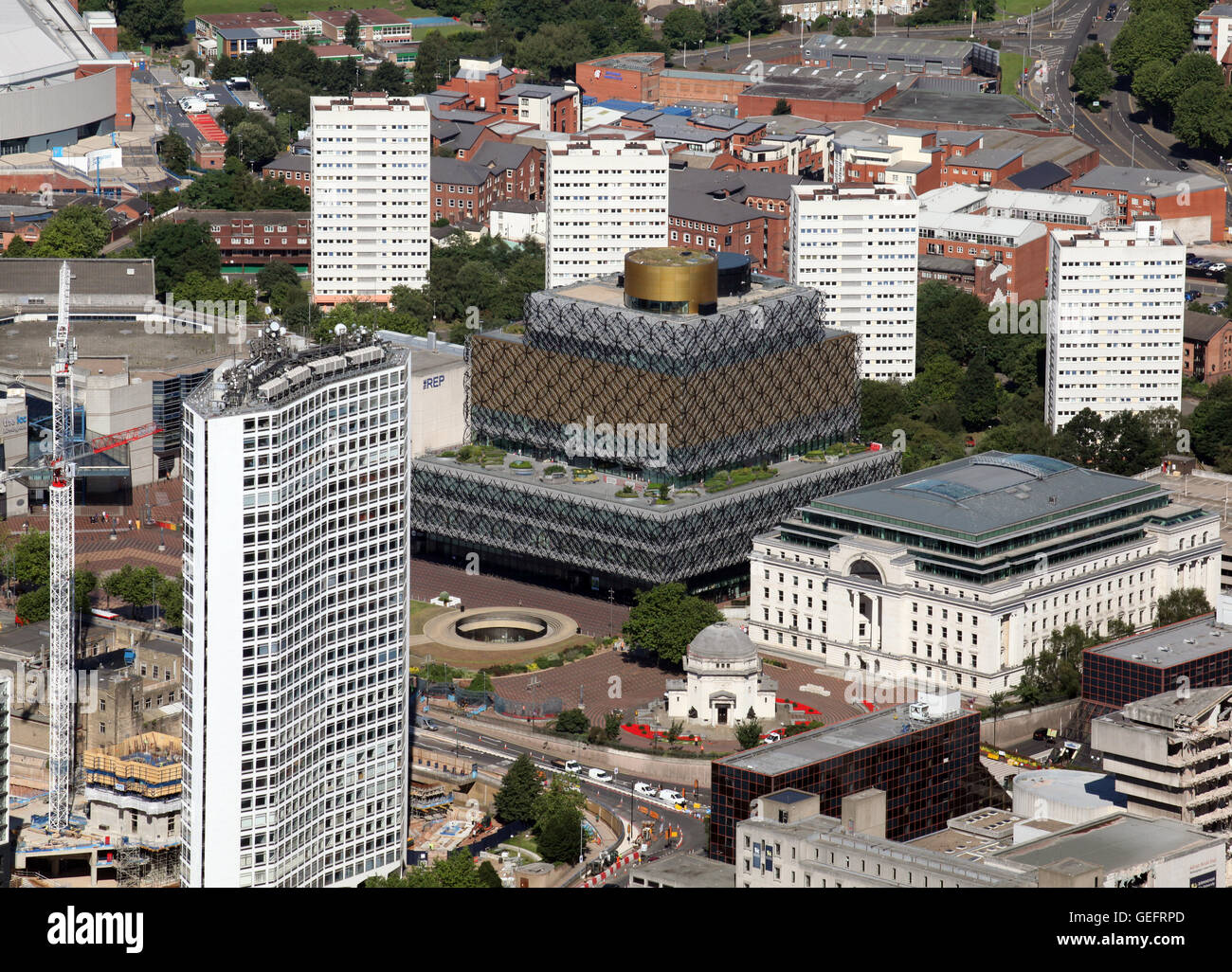 aerial view of The Library of Birmingham in Centenary Square, Birmingham city centre, UK - Stock Image