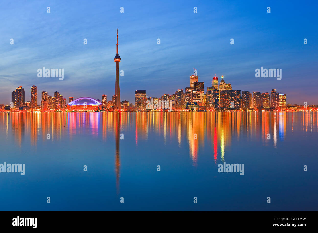 geography,travel,Canada,Ontario,Toronto,Toronto City Skyline seen dusk from Centre Island,Toronto Islands,Lake Ontario,Ontario, Stock Photo