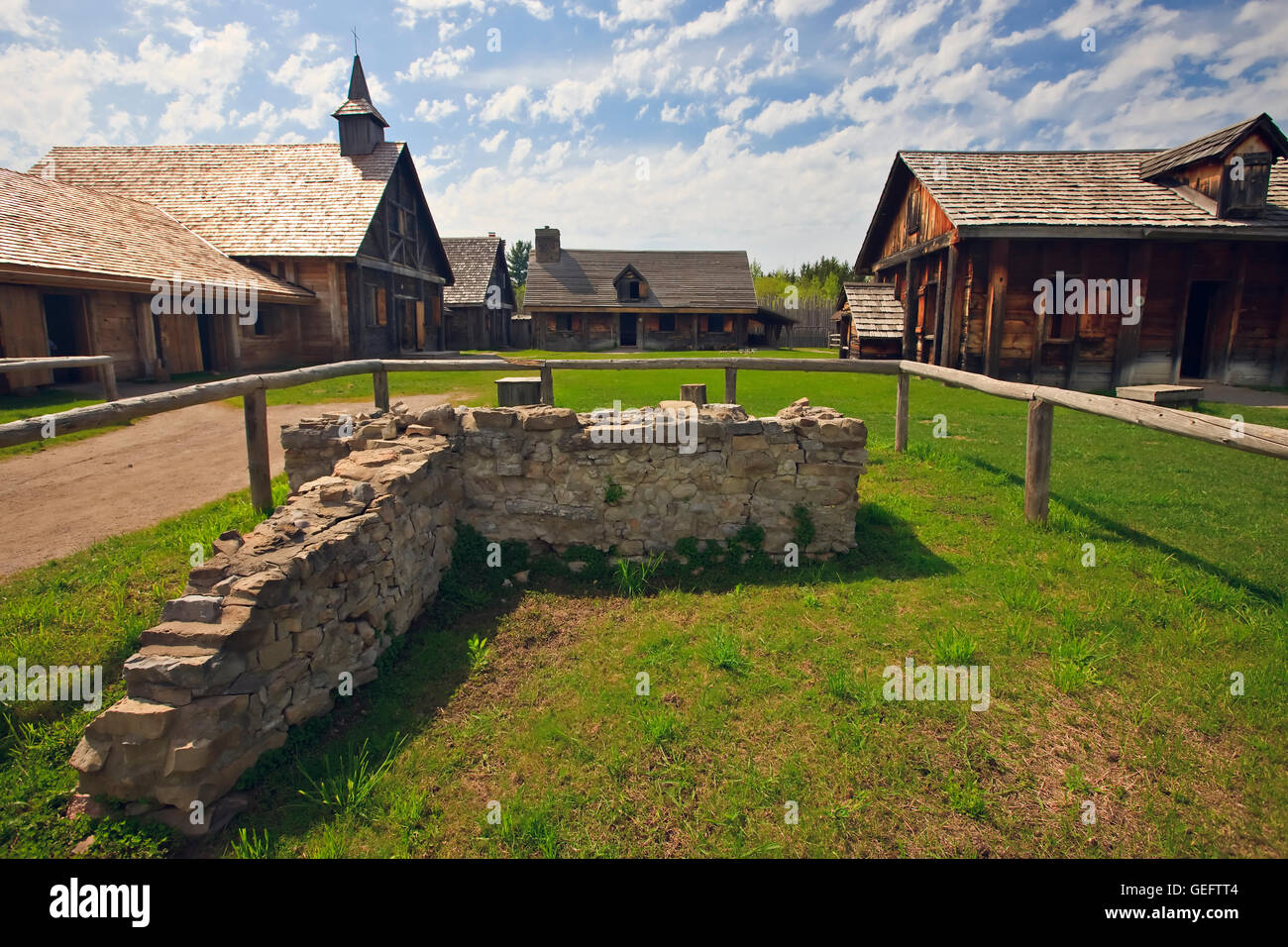 geography,travel,Canada,Ontario,Midland,Old stone wall entrance to Sainte-Marie among Hurons complex in town Midland,Ontario, - Stock Image